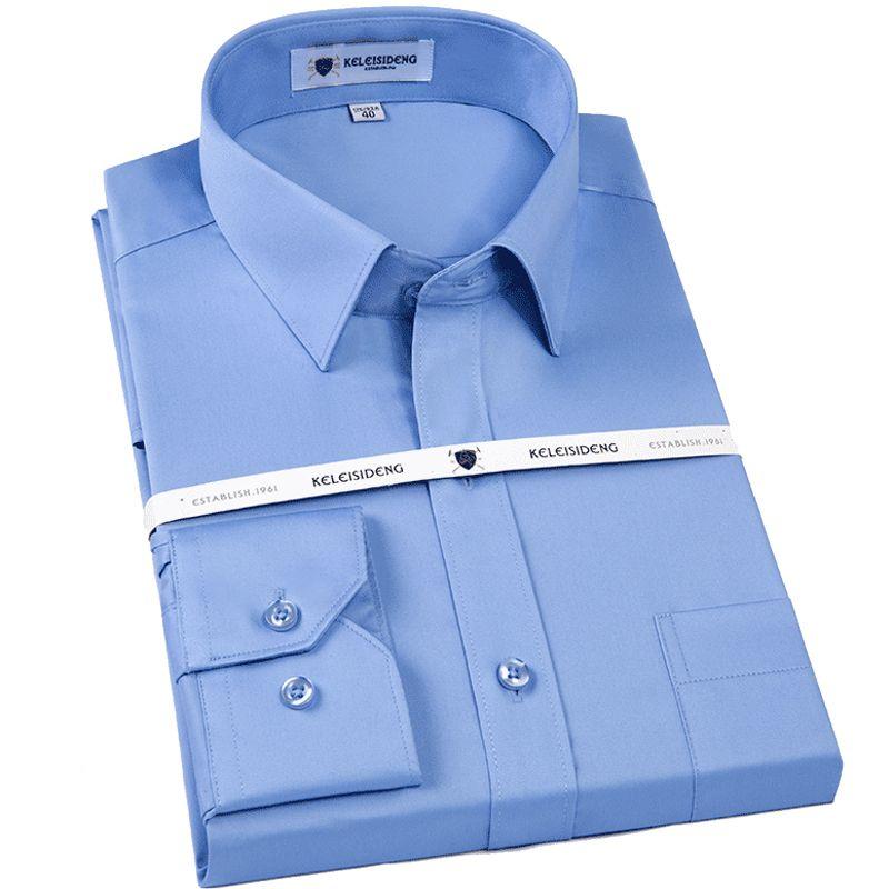 Men's Non Iron Slim Fit Solid Basic Dress Shirt Patch Left Chest Pocket Premium 100% Cotton Male Long Sleeve Work Office Shirts