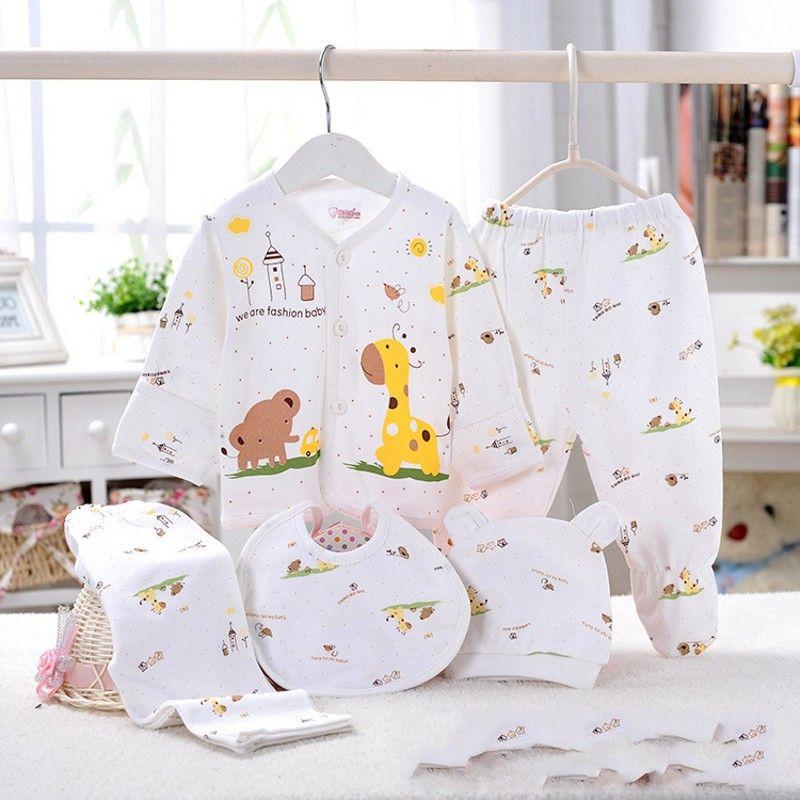 100% coton sous-vêtements de bébé sous-vêtements cinq ensembles de nouveau-nés 0-3 mois mignon dessin animé sous-vêtements bébé costume