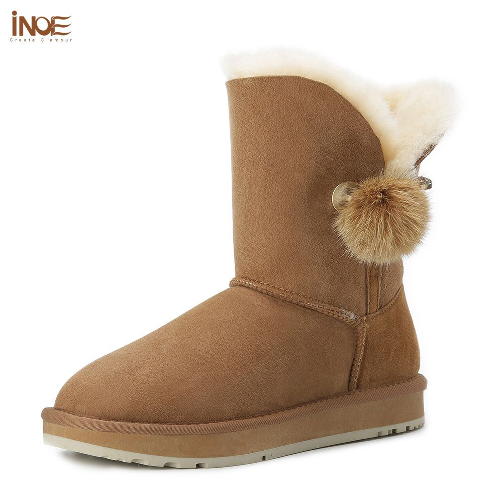 INOE new style crystal rhinestone and fur pom-pom brooch real rabbit fur ball sheepskin leather fur lined winter snow boots grey
