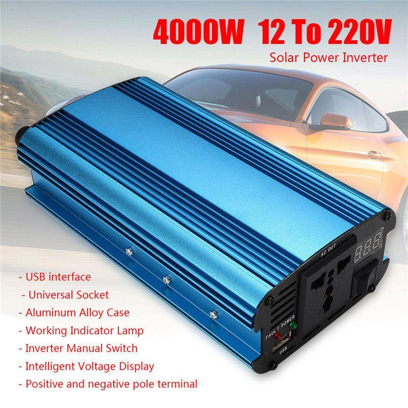 4000W LED 4USB  12v/24V DC to 220V AC Solar Power Inverter Sine Wave Converter 2000W Overload High Voltage Protection