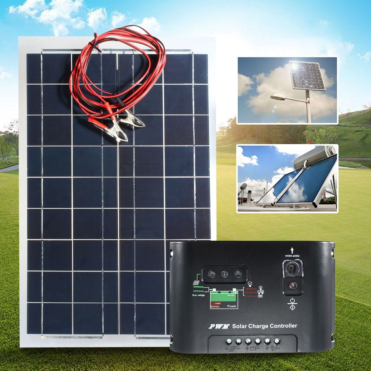 KINCO Flexible Solar Panel Plate 12V 30W Solar Charger For Car Battery 12V Sunpower Monocrystalline Cells + 10A PWM Controller