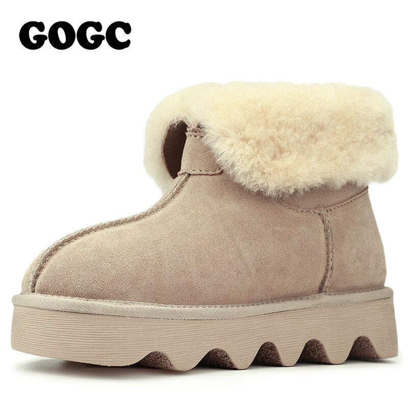 GOGC 2018 Snowshoes Women's Winter Boots with Wool Fur Comfortable Ankle Women Boots Genuine Leather Women's Winter Shoes Casual