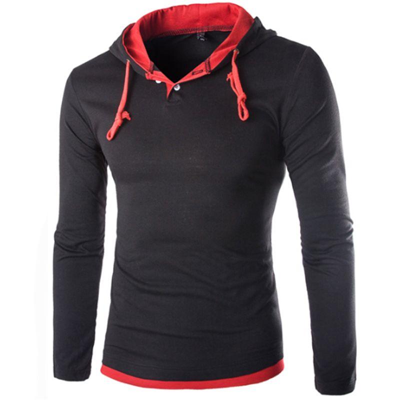 Футболка Для мужчин марка 2018 Мода Для мужчин с капюшоном шить Дизайн Топы и футболки для женщин футболка Для мужчин с длинным рукавом Тонкий...