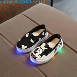 Anak-anak Sepatu dengan Lampu Putri Gadis LED Sneakers Spring/Musim Gugur Bernapas Fashion Anak Laki-laki Mickey Sepatu Kanvas Lembut Gadis Sepatu
