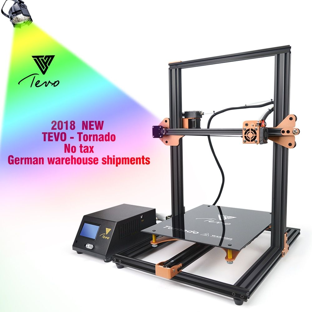 2018 Newest TEVO Tornado Fully Assembled 3D Printer Impresora 3D Full Aluminium Frame with Titan Extruder Large Printing Area