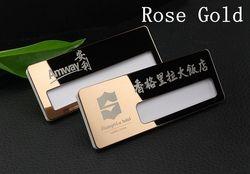 10 pcs kustom karyawan id badge nama terukir laser reusable tag magnet stainless steel nama badge holder