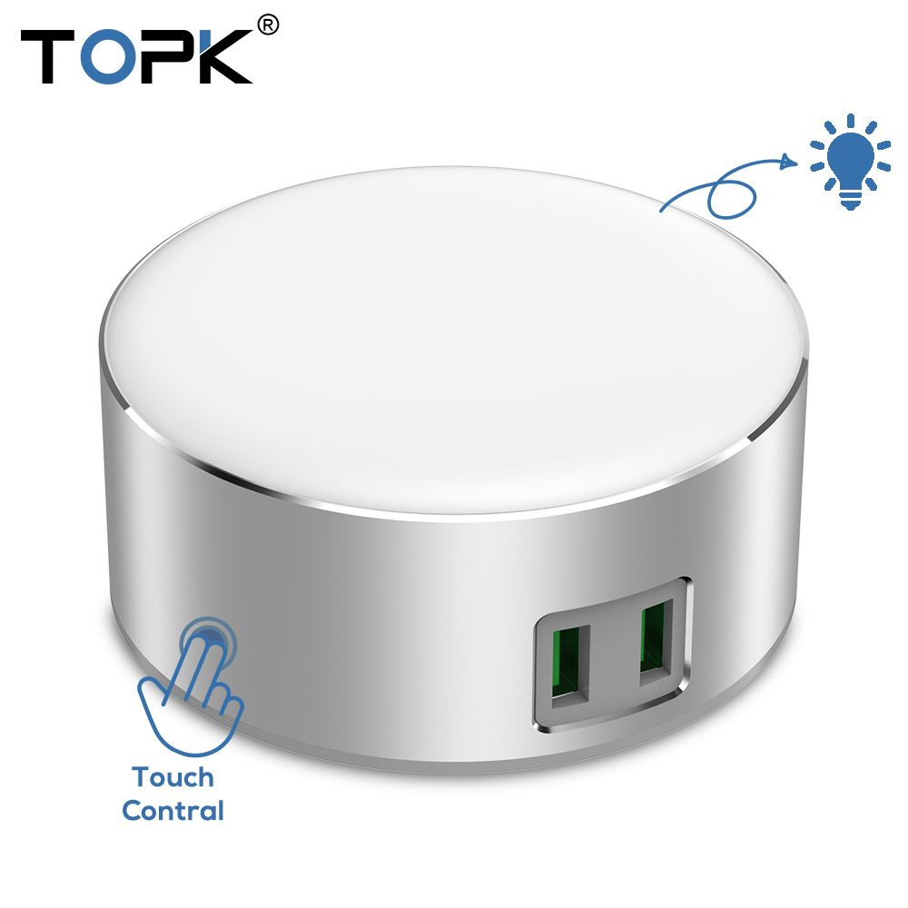 TOPK 5V 2.4A(Max) 12W Auto-ID Dual USB Charger Dimmable Smart LED Table Lamp EU Mobile Phone Charger for iPhone Samsung Xiaomi
