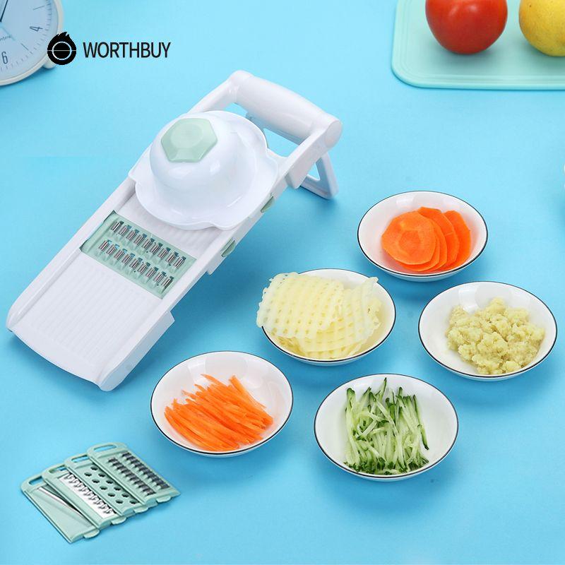 WORTHBUY Mandoline coupeuse de légumes Avec 5 acier inoxydable Lame Légumes Trancheuse De Pommes De Terre Carotte Râpe accessoires de cuisine