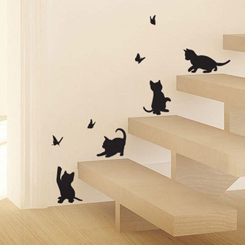 4 шт. милые кошки играть с бабочка детская комната стены наклейки мебели наклейка детская комната мультфильм Декор стекло стикер melestore