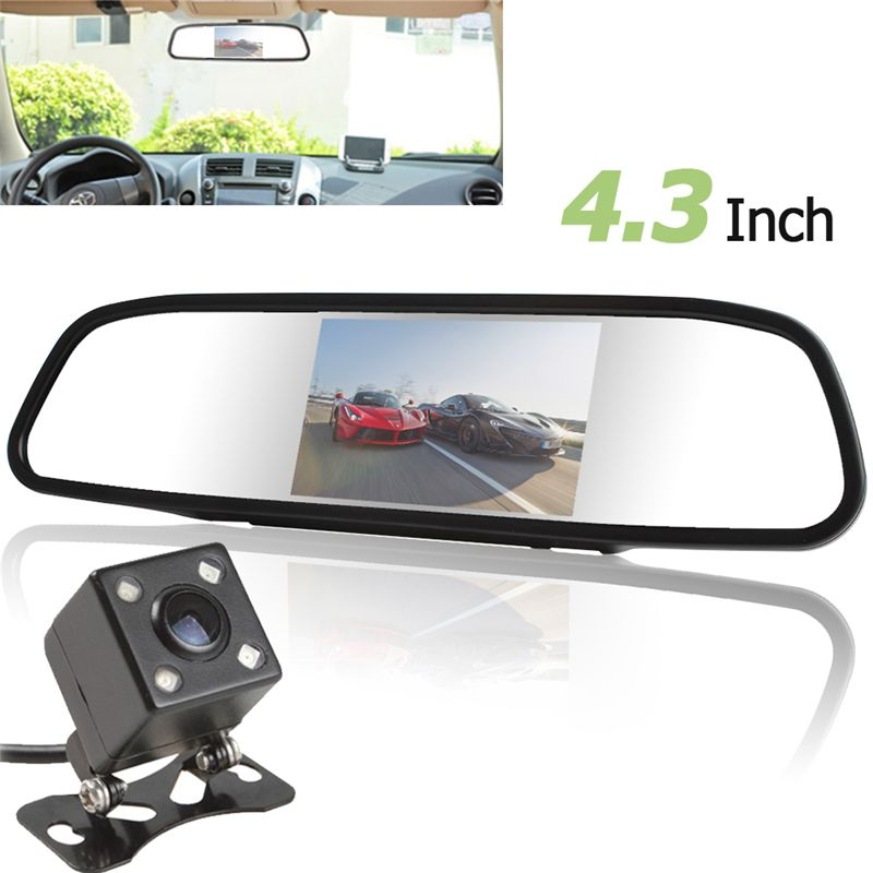 Univeral 4.3 Inch TFT LCD Auto Car Rear View Mirror Monitor Parking + Car Rearview Reverse Camera Night Vision 170 Wide Angle