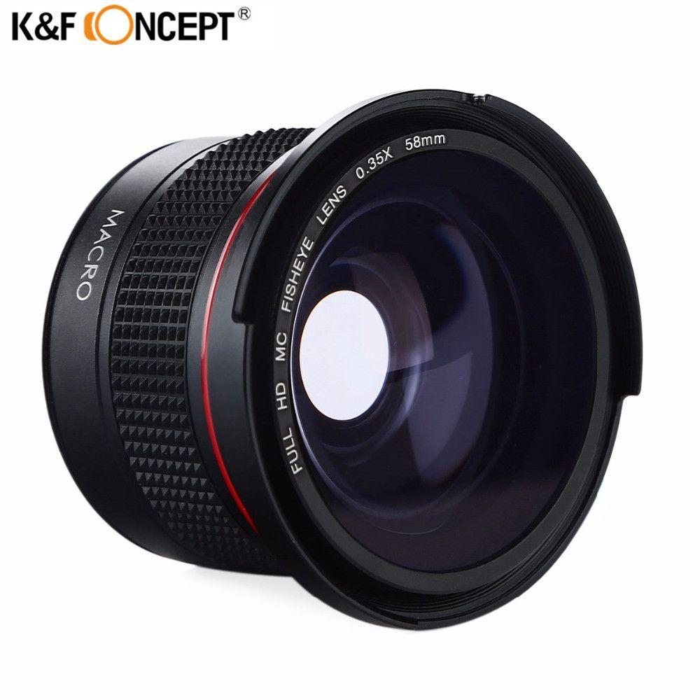 K & F CONCEPT HD 58mm 0.35x Fisheye Caméra Objectif Grand Angle Macro lentilles Pour Canon 600d 700d 6d Rebel T5i Nikon d3300 d5100 sony