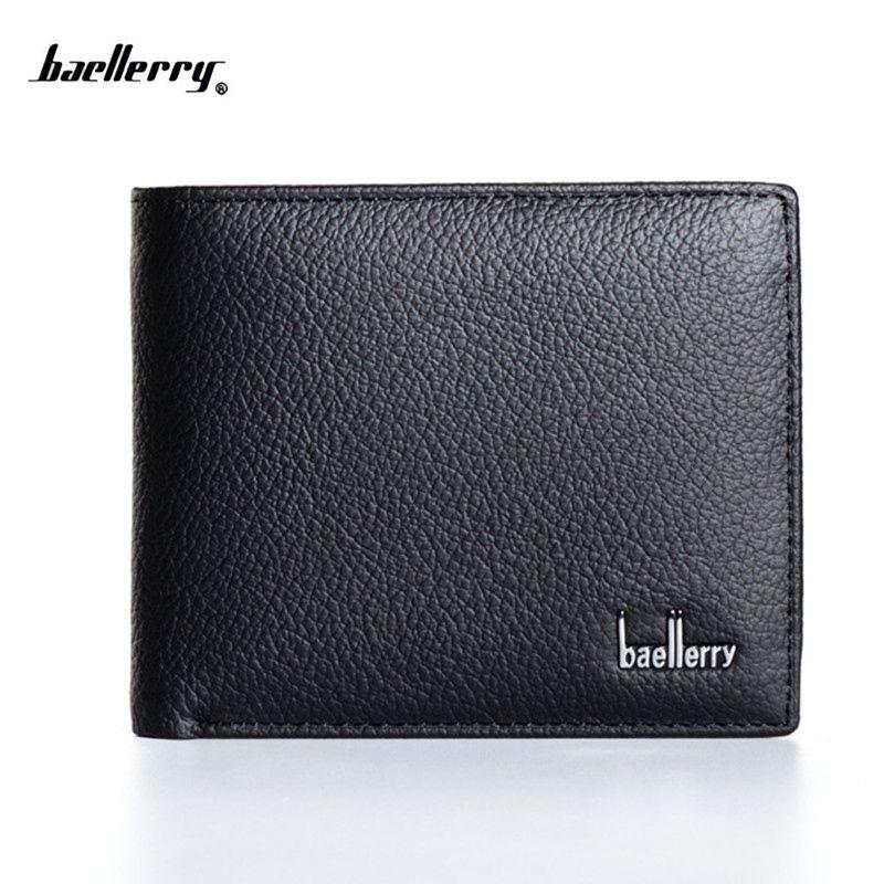 Nouveau 2018 en cuir véritable hommes portefeuilles célèbre marque hommes portefeuille mâle noir porte-monnaie carte D'IDENTITÉ dollar projet de loi portefeuille