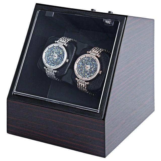 Wooden Auto Silent Watch Winder Irregular Shape Transparent Cover Wristwatch Box with EU Plug Luxury Box Automatic Watch