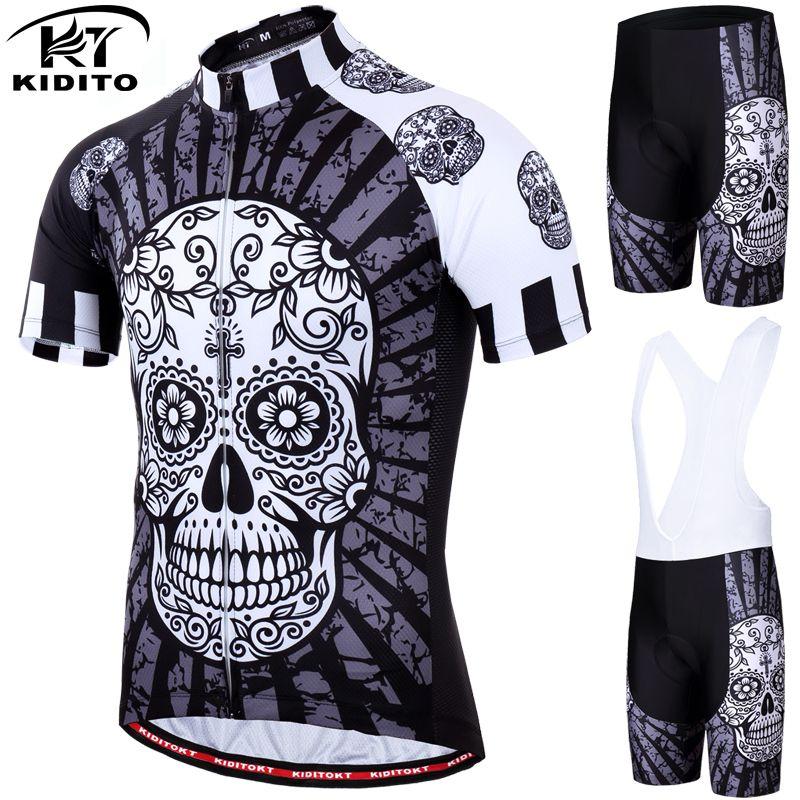KIDITOKT 2019 ensemble de maillot de cyclisme crâne à séchage rapide vtt vêtements de vélo porter des vêtements de VTT 100% Polyester ensemble de cyclisme