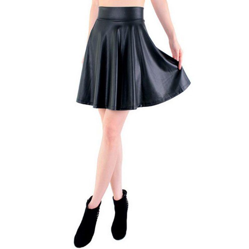 Livraison gratuite nouvelle taille haute simili cuir patineuse flare jupe décontracté mini jupe longueur genoux couleur unie noir jupe S/M/L/XL