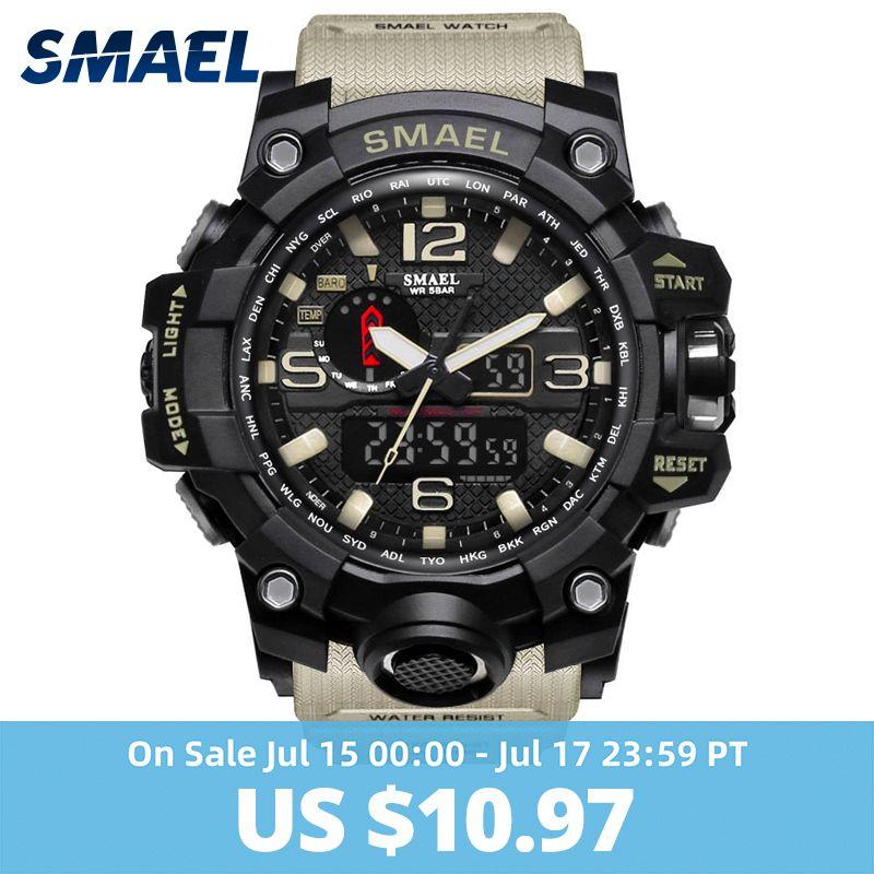 Montre militaire homme 50m étanche montre-bracelet LED Quartz horloge Sport montre mâle relogios masculino 1545 Sport montre hommes S Shock