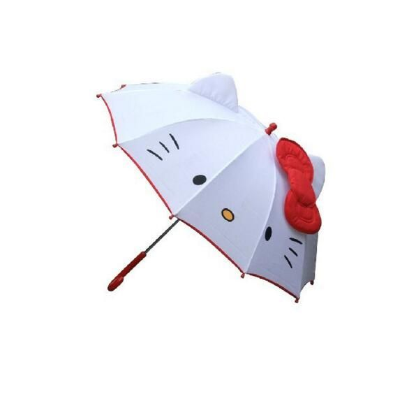 Hot Lovely Cartoon Hello Kitty Children Anime Umbrella for Kids Girl Cute Umbrella Baby <font><b>Student</b></font> White Umbrella Free Shipping