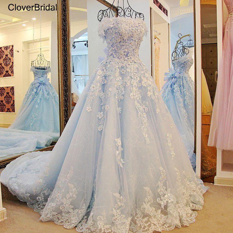 2017 spring summer romantic luxury flowers bow lace appliques glitter tulle tiffany blue wedding dress xj98850 white long train