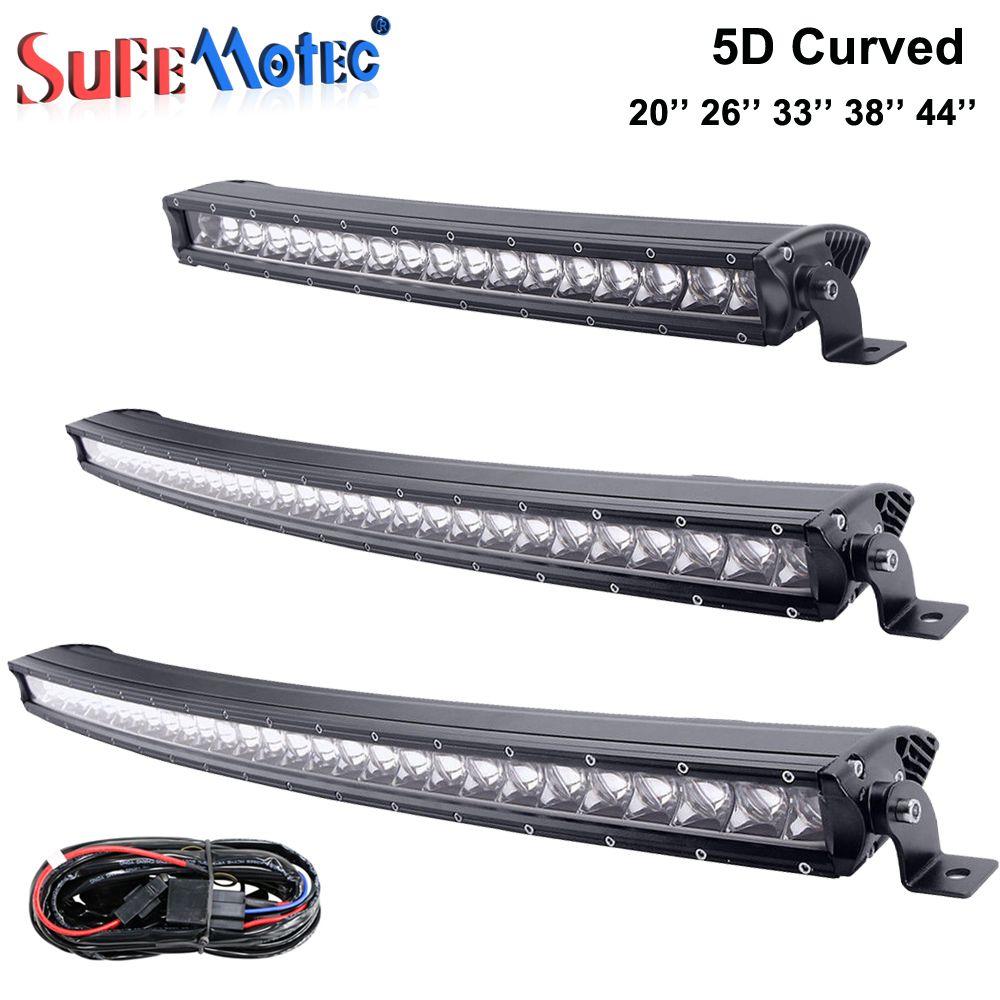 5D 90 watt 120 watt 150 watt 180 watt 210 watt Curved LED Light Bar Einreihige Für Off Road 4X4 Lkw-Boot-Mine 20 ''26'' 38 ''43'' Fahren Lichter