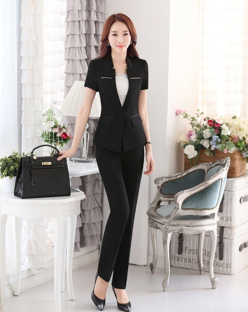 Summer Ladies Pant Suits for Women Business Suits Formal Office Suits Work Blazer Set Beauty Salon Uniforms OL Style Black
