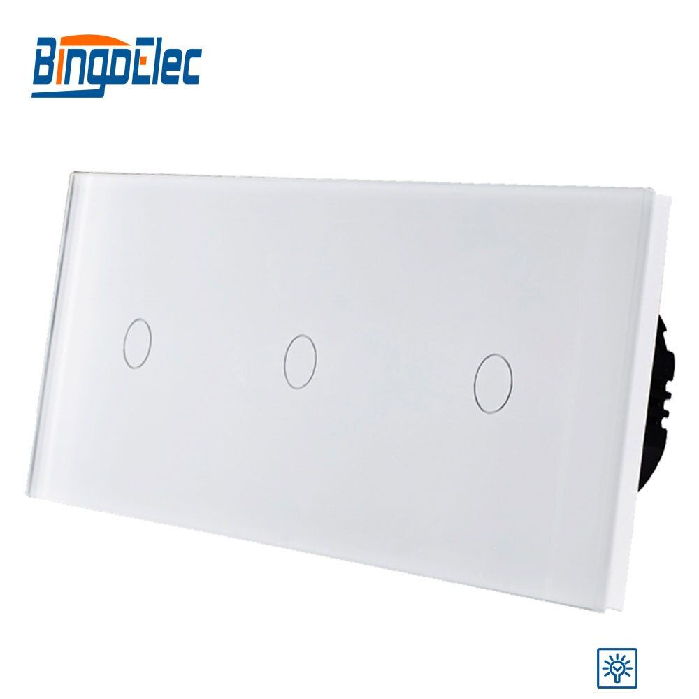 Bingo EU standrad, Luxury wall Triple gang touch dimmer switch with crystal glass panel,AC110-250V Hot Sale