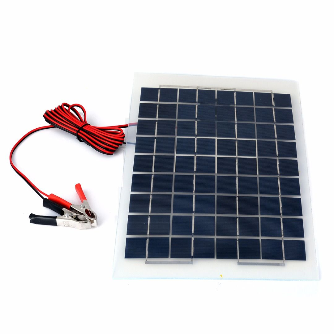 10W 12v Polycrystalline Energy Solar Panel Battery Module With Clips 4m Cable For Solar Water Pumps Electric Fans Mayitr