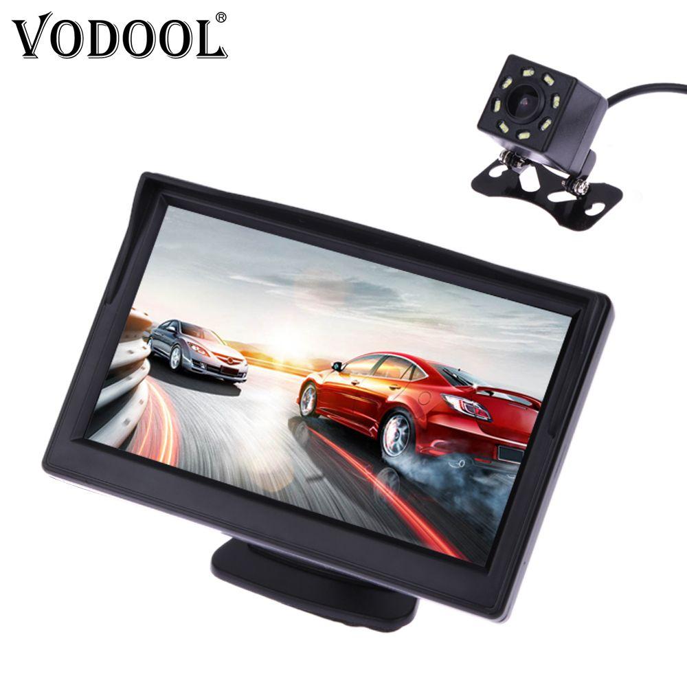 VODOOL voiture caméra de recul système de stationnement Kit 5 pouces TFT LCD moniteur de recul étanche Vision nocturne caméra de sauvegarde