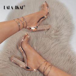 LALA IKAI Women Heeled Sandals Bandage Rhinestone Ankle Strap Pumps Super High Heels 10.5 CM Square Heels Lady Shoes 014C1038 -4