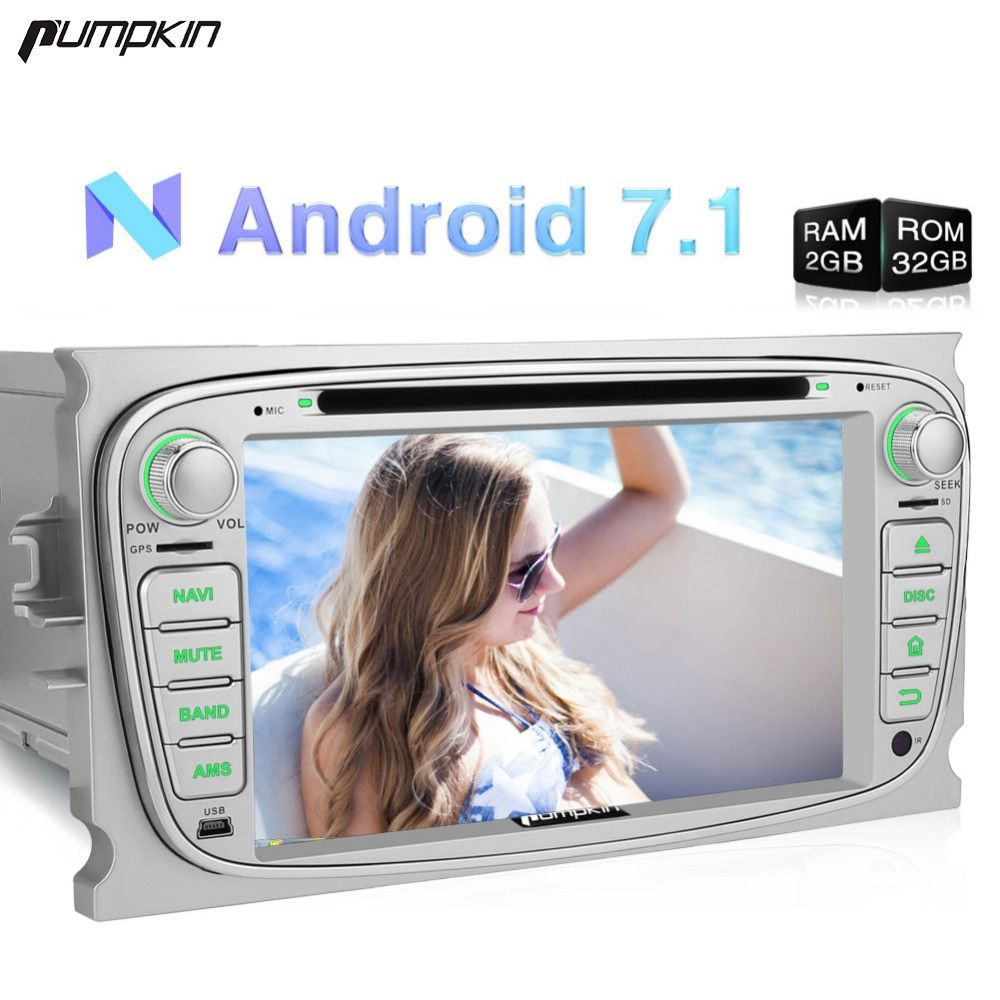 Kürbis 2 Din Android 7.1 Auto DVD Player GPS Navigation 2G + 32G Quad-core Stereo Für Ford mondeo/Fokus FM Rds Radio Wifi Steuergerät