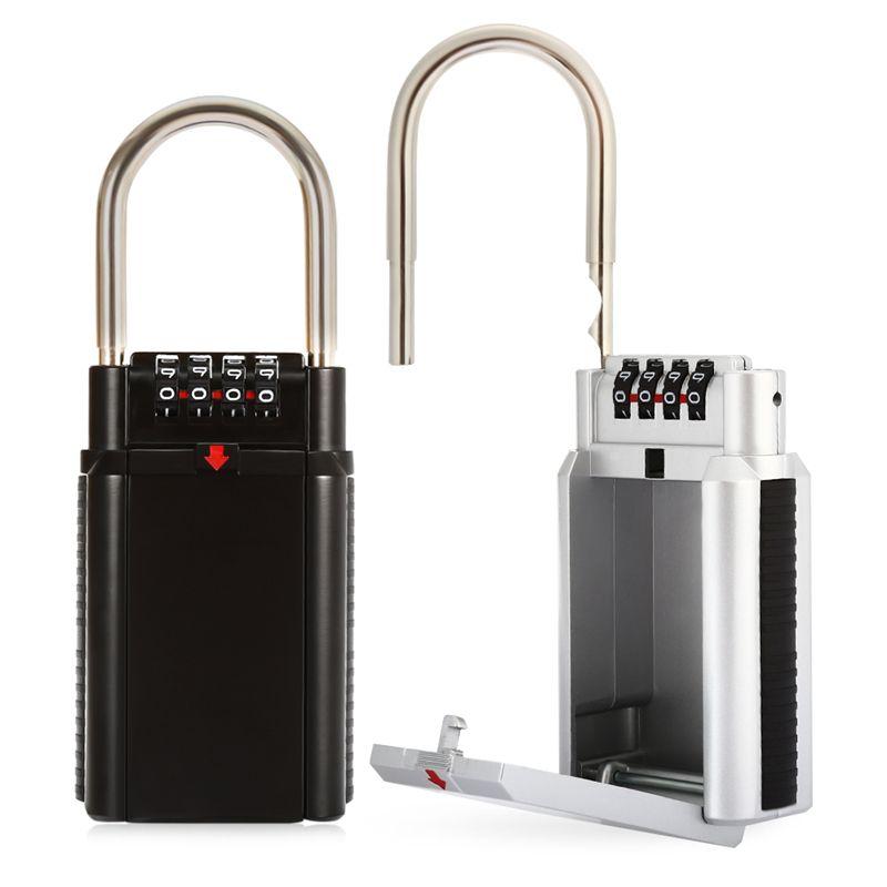 Große Kapazität 4 Zifferblatt Schlüsselspeicher Kombination Vorhängeschloss Sicherheit Lock-Box Für Doorfor Hause Im Freien Safe
