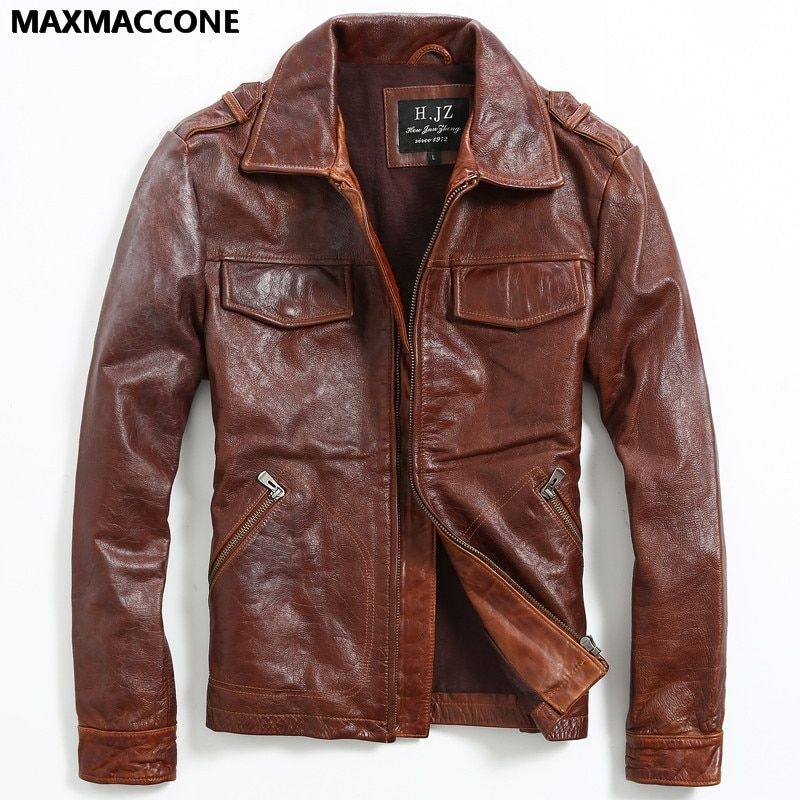 2018 Vintage Brown Genuine Leather Mens Jacket Real Thick Cowhide Winter Russian Smart Casual Leather Coat XXL FREE SHIPPING