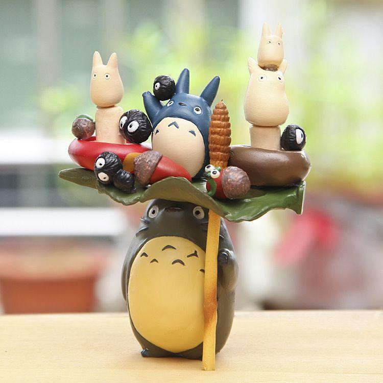 Аниме мультфильм Фигурки игрушки Хаяо Миядзаки ПВХ Тоторо Семья модель Игрушечные лошадки Juguetes с коробкой отличный подарок