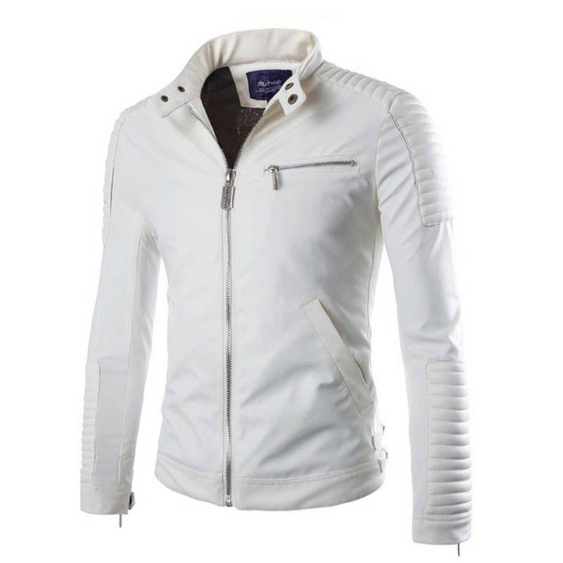 Veste Cuir blanc Hommes Polyester Doublé de Moto PU Vestes En Daim Hommes Slim Fit Hommes Matelassé Col Debout Motard Manteaux