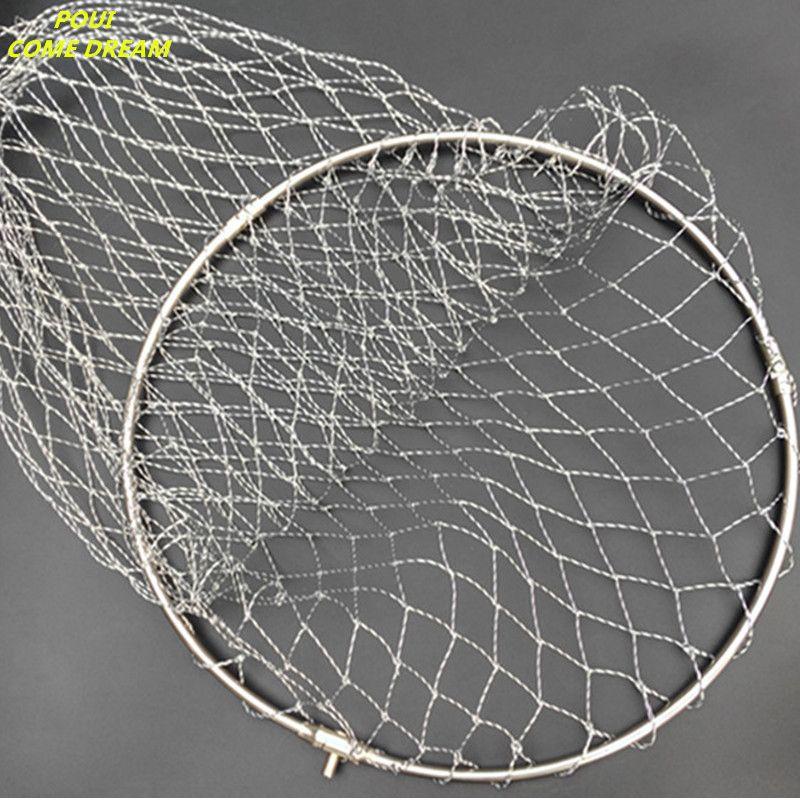 Solide edelstahl ring starke nylon linie D40cm-60cm kescher von kopf fischernetz netzwerk turck net dipneting