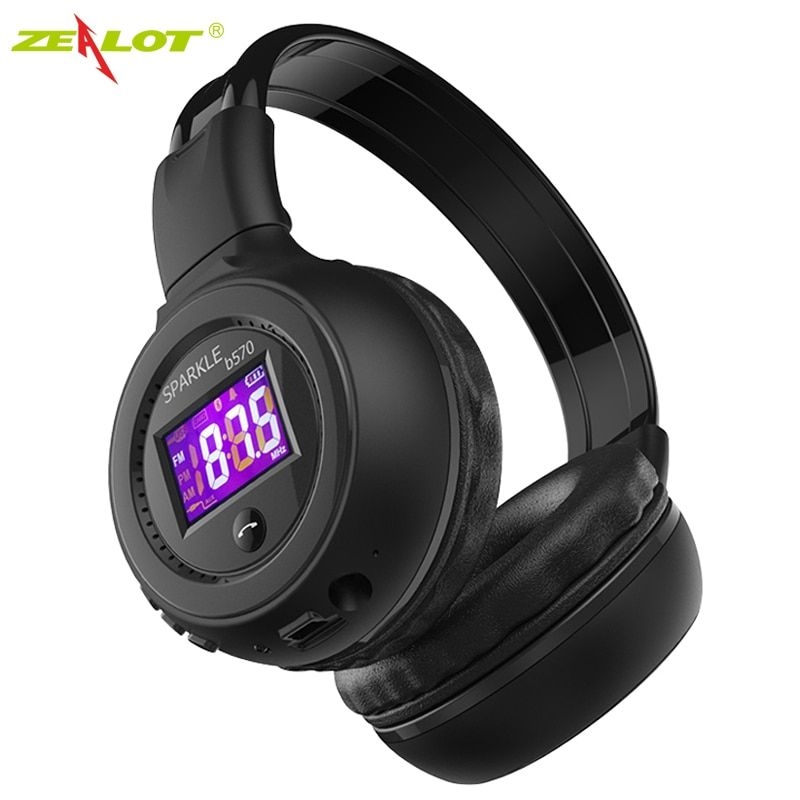 ZEALOT B570 Bluetooth Headphone Foldable Wireless Hifi Stereo Headsets With LCD Screen Micro-SD Card Slot Mic FM Radio For Music