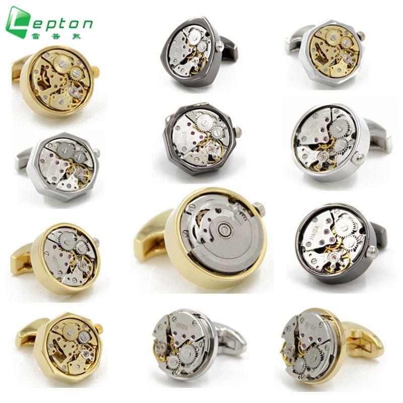 Lepton Fonctionnelle Montre Mouvement boutons de Manchette mode Montre designer boutons de manchette pour les hommes Français chemise poignets Boutons de Manchette Accessoires