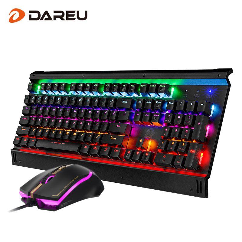 Dareu EK812T LED Backlight Gaming Combos Ratón USB Con Cable Teclado Mecánico Llave Completa Profesional Ratón Teclado Para PC Del Juego