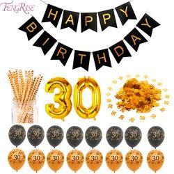 FENGRISE 30 40 50 60 70 Heureux Décorations de Fête D'anniversaire Adulte Personnalisé Anniversaire Articles De Fête Or Noir Anniversaire Décor