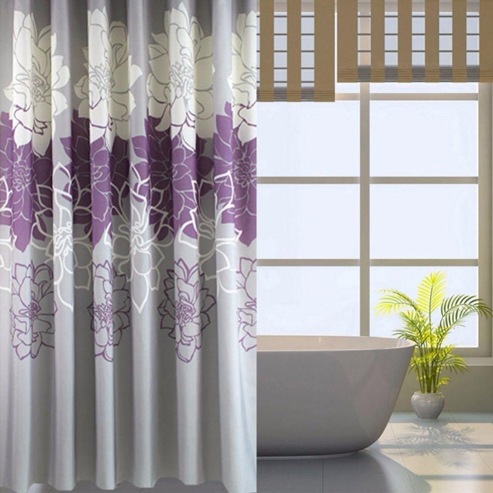 С цветочным принтом душ Шторы Ткань, Водонепроницаемый Ванная комната Шторы больше росы с бесплатной Кольца, фиолетовый/серый