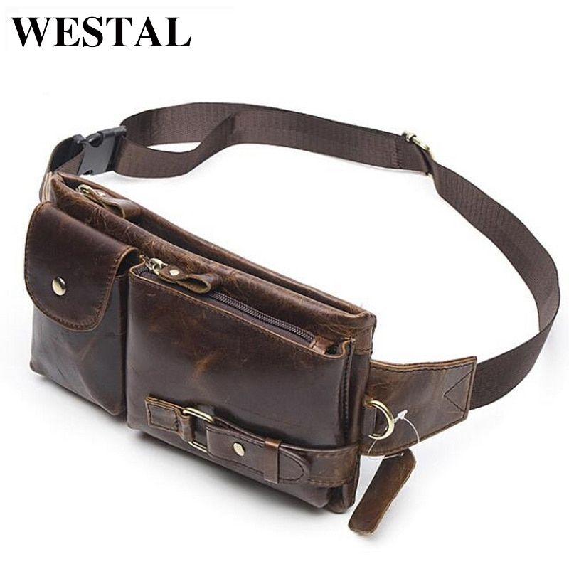 WESTAL <font><b>Genuine</b></font> Leather Waist Packs Fanny Pack Belt Bag Phone Pouch Bags Travel Waist Pack Male Small Waist Bag Leather Pouch