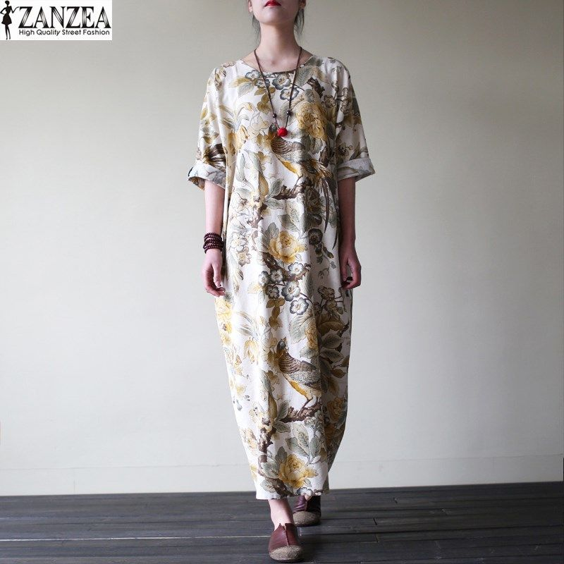 ZANZEA Womens Vintage Random Floral Print Cotton Pockets Casual <font><b>Party</b></font> Loose Maxi Long Dress Kaftan Vestido Plus Size