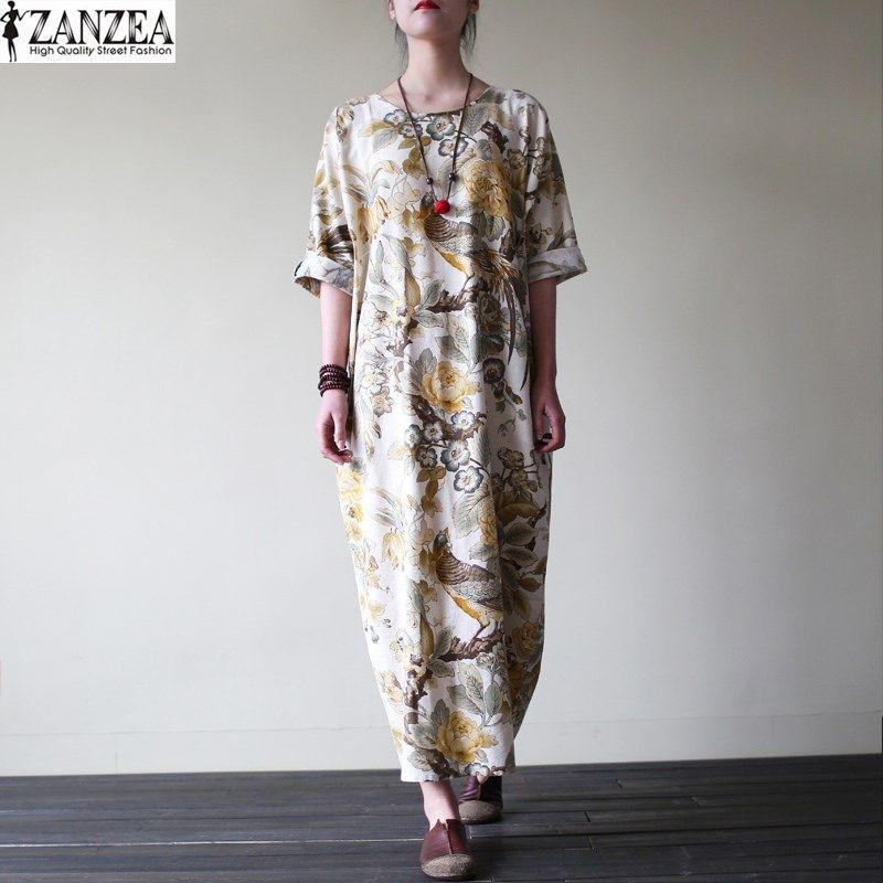 ZANZEA <font><b>Womens</b></font> Vintage Random Floral Print Cotton Pockets Casual Party Loose Maxi Long Dress Kaftan Vestido Plus Size