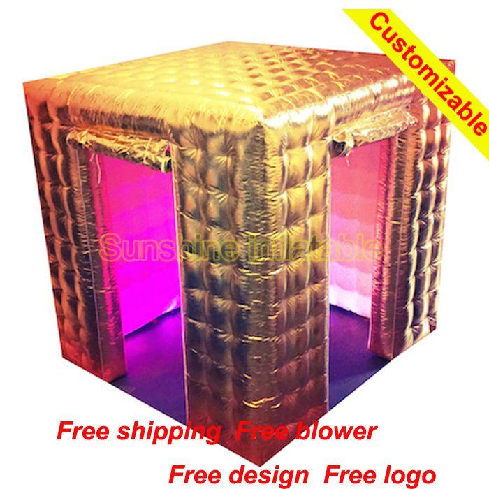 Золотой/Серебряный Оксфорд материал надувные красильной, надувные Photo Booth, надувные площади Photo Booth портативный