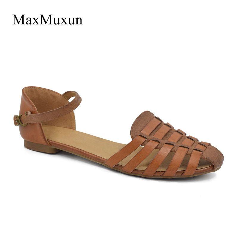 MaxMuxun Femmes Slingback Plat Sandales D'été Rome Boucle Cheville Fermé Toe Lacets Gladiateur Plage Robe Sandales Pour Filles Chaussures