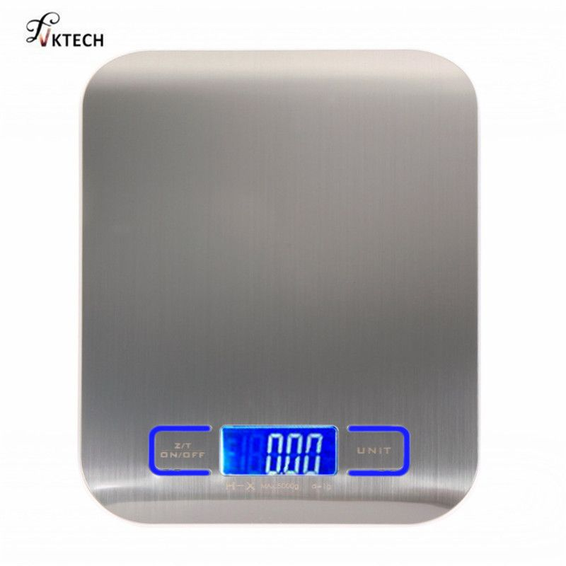 11 LB/5000g High Precision Electronic Kitchen Scales Digital Food Scale Stainless Steel Weight Scale Measuring Tools Libra