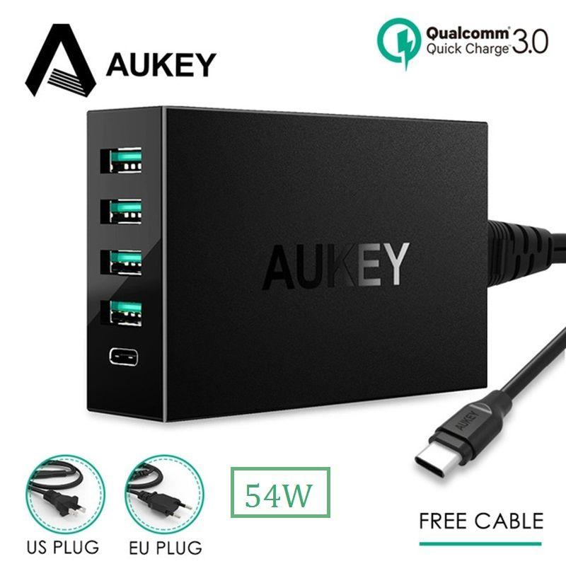 AUKEY Charge Rapide 3.0 USB Type C Rapide Chargeur pour Xiaomi Samsung Galaxy s8 iPhone Mobile Téléphone Chargeur avec Livraison Type C câble