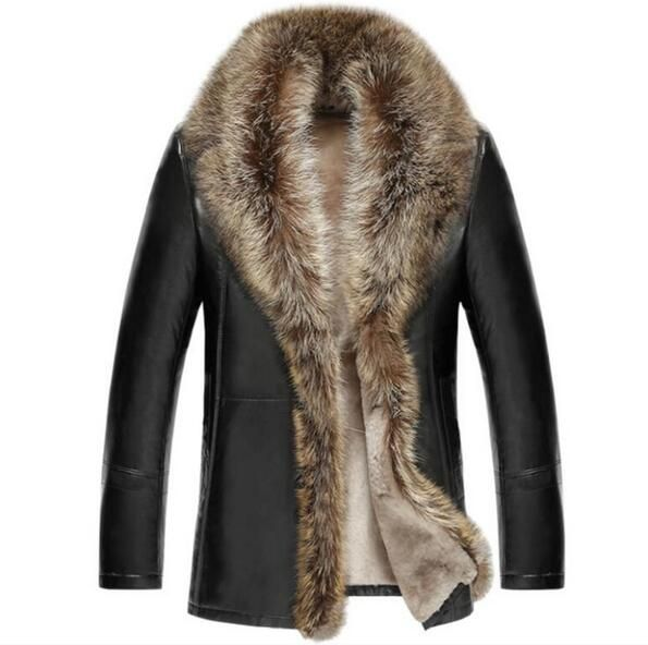 The real Raccoon Fur Collar Men's Genuine Leather Winter Jacket Sheep Wool inside warm Men Coat High quality EMS Free shipping