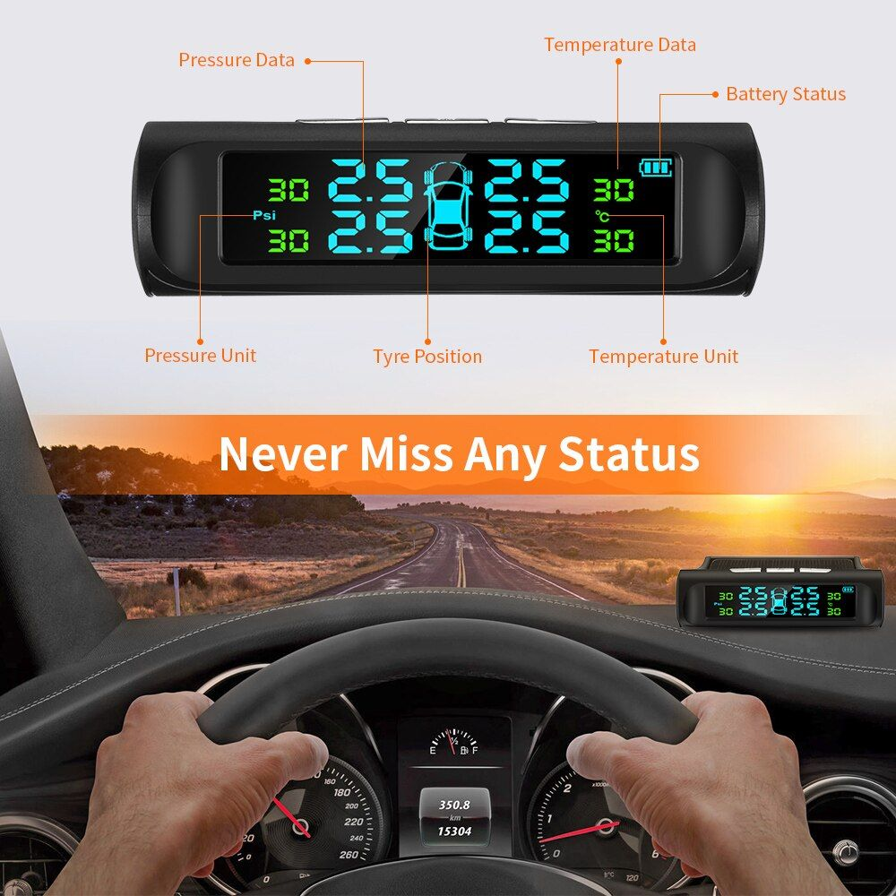 ZEEPIN C240 Tyre Pressure Monitoring System Solar TPMS Digital LCD Display Auto Security Alarm Systems with 4 External Sensors