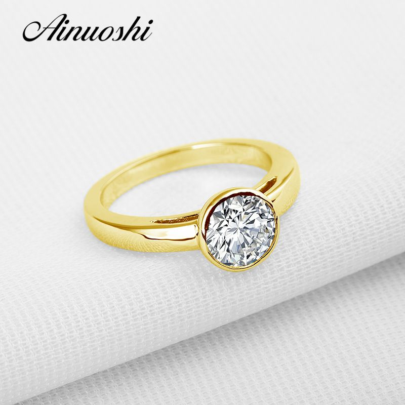 AINUOSHI 10K Solid Yellow Gold Wedding Ring 1.25 ct Solitaire Round Simulted Diamond Joaillerie Women Wedding Rings Customized