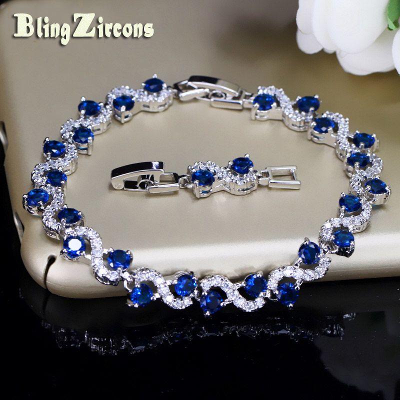 BlingZircons Charme Foncé Bleu Cristal Femmes De Tennis Bracelets Avec Cubique Zircone Pierre 925 Bijoux En Argent Sterling B016